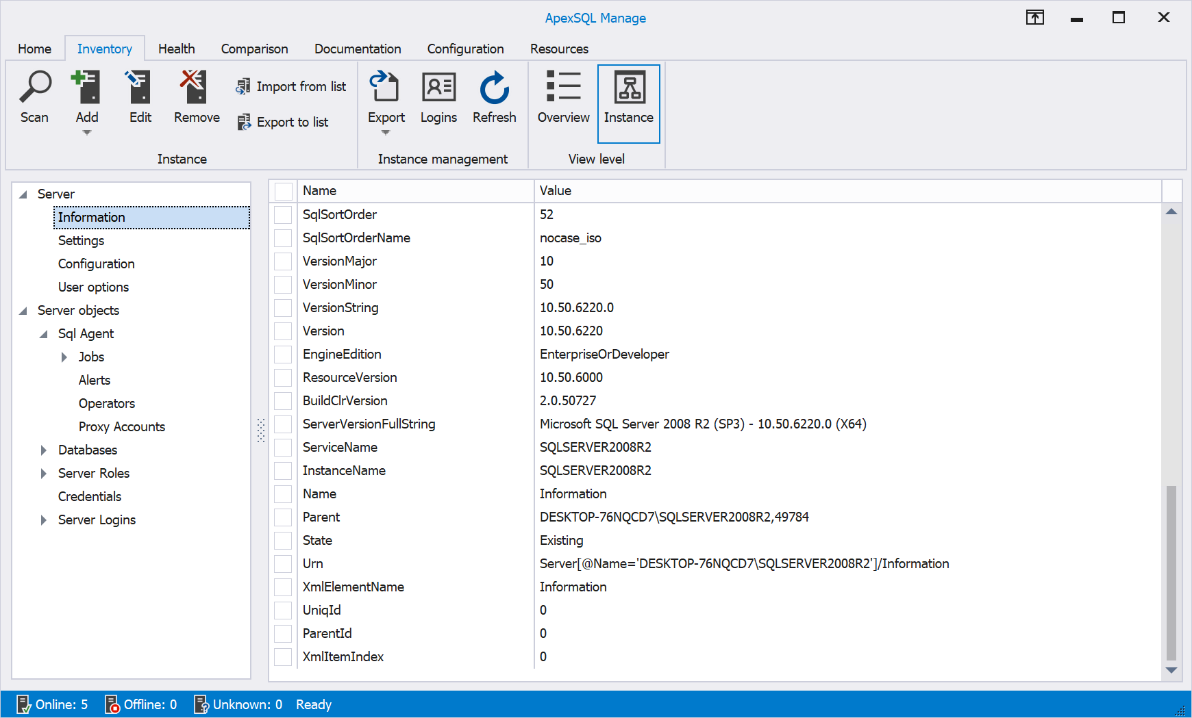 Instance view of SQL Server instances in light theme