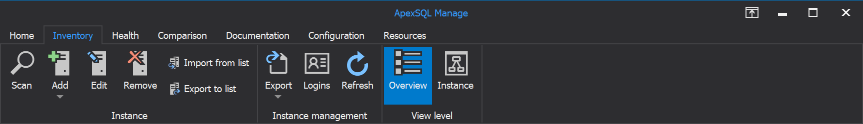 Inventory tab of the ApexSQL Manage