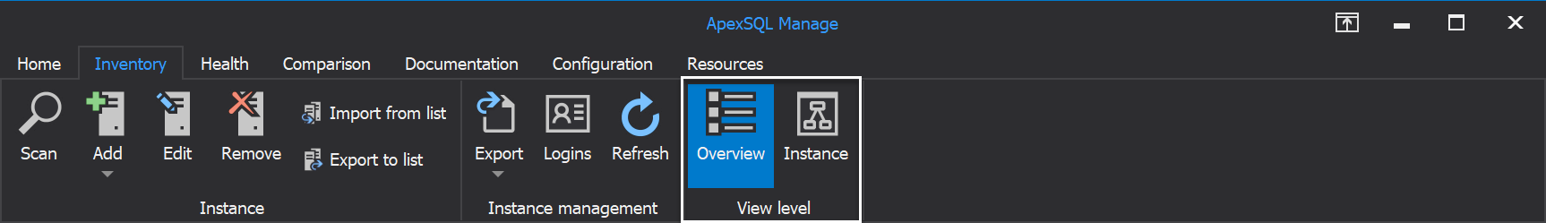 Overview and Instance view of SQL Server instances