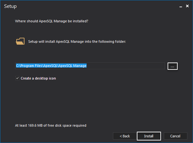 Selecting the installation folder during sql manage instance tool setup