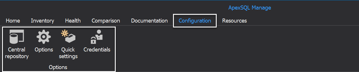 The Configuration tab