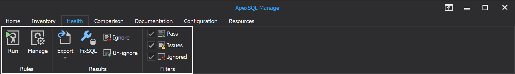 The Health tab of ApexSQL Manage tool