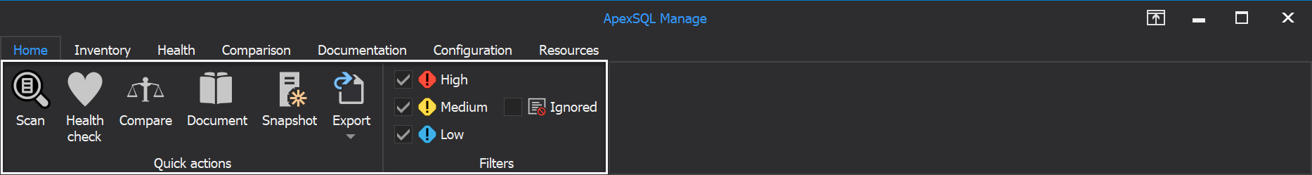 The Home tab of SQL manage instance tool