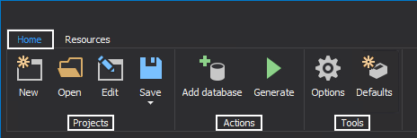 Project, Actions and Tools sections can be found in the Home tab