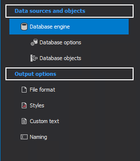 The Data sources and object and Output options panel are on the left side of the main diagram window