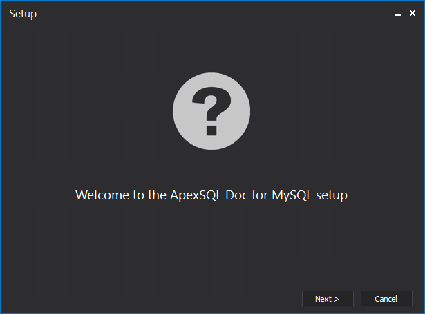 The first window through the installation process of the ApexSQL Doc for MySQL